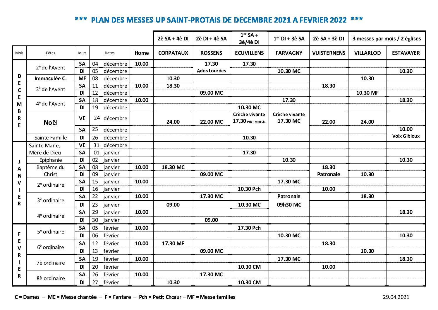 Horaires des messes Mars à mai 2017